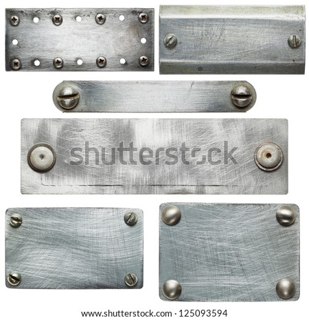 Metal plates with screws and rivets. Isolated textures - stock photo