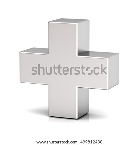 Metal plus sign isolated on white background with reflection. 3D rendering.