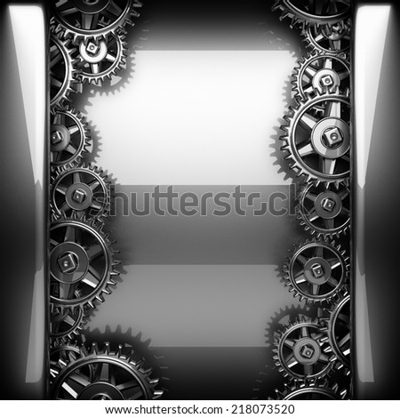 metal polished background with cogwheel gears - stock photo
