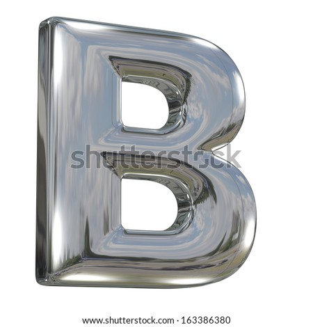 Metal polished glossy letter B from chrome solid alphabet isolated on white - stock photo
