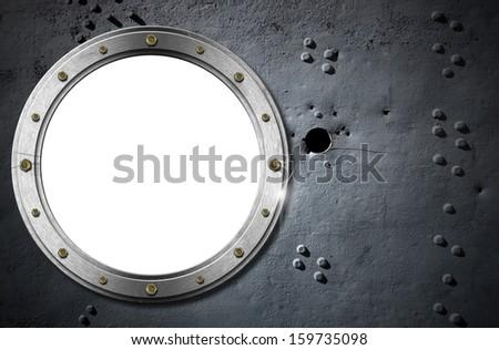 Metal Porthole on Grunge Background / Metallic porthole with bolts on a metal background with rivets and holes  - stock photo