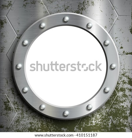 Metal porthole with rivets. Window on the a submarine. Stock illustration.