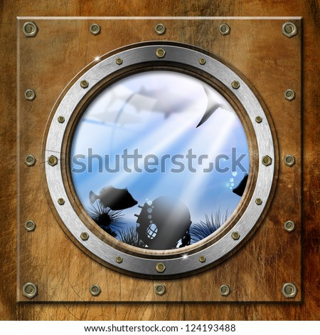 Metal Porthole with Sea Abyss Landscape / Brown and metallic porthole with bolts and blue sea abyss landscape