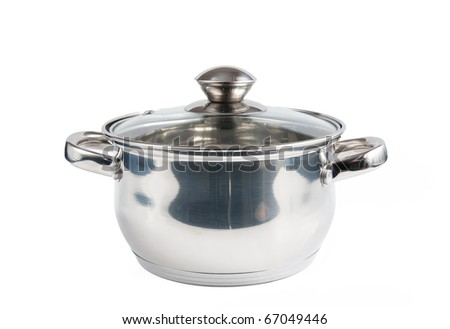 metal pot with lid on a white background