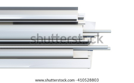 Metal products on white background. Top view. 3D rendering