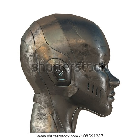 Metal profile of cyborg. 3d image isolated on white