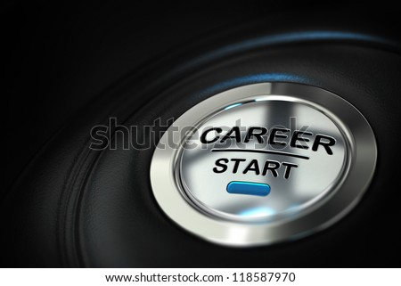 metal push button where it's written career start over a black background with blur effect - stock photo