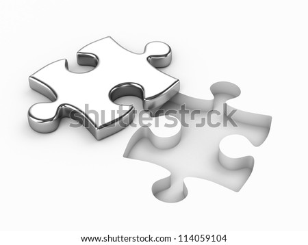 Metal puzzle - stock photo