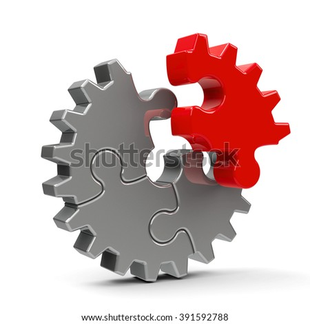 Metal puzzle gears isolated on a white background - team cooperation concept, three-dimensional rendering - stock photo