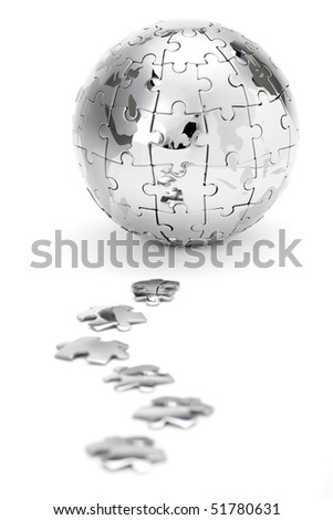 Metal puzzle globe isolated on white background