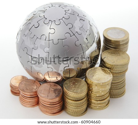Metal puzzle globe with euro coins on white background - stock photo