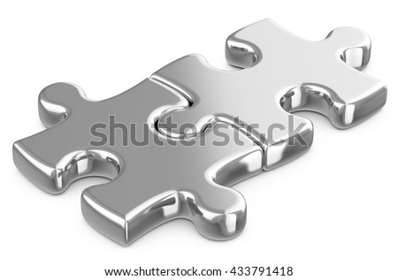Metal puzzle pieces on a white floor. 3D illustration. - stock photo