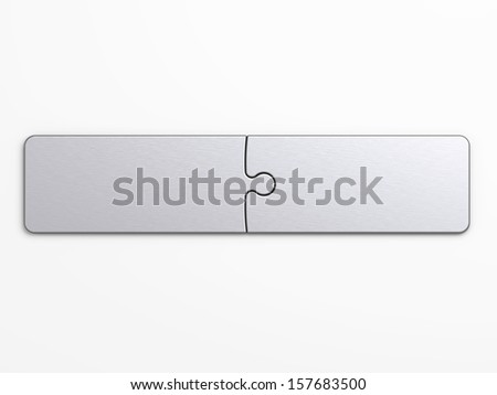 metal puzzle pieces  with clipping path to place concepts - stock photo