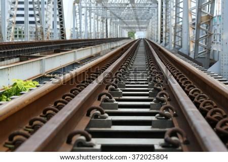 Metal railway bridge - stock photo