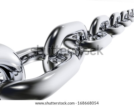 Metal realistic chain on white background. 3d render - stock photo