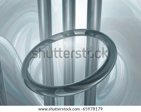 metal ring and bars - 3d illustration
