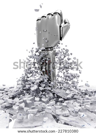 Metal Robotic Hand Breaking Through From Concrete Floor. Abstract 3D Illustration isolated on white background - stock photo