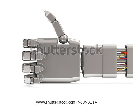 Metal Robotic Hand Showing Thumbs Up isolated on white background - stock photo