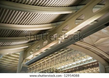 Metal roof construction, airport of Hangzhou, China - stock photo