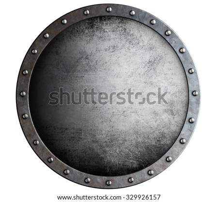 metal round aged shield isolated on white