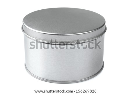 Metal round box on a white background - stock photo