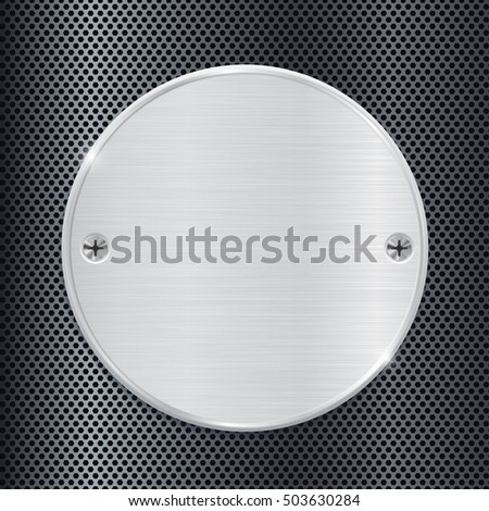 Metal round plate on perforated background. 3d illustration. Raster version