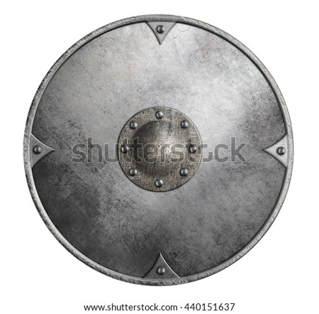 metal round shield isolated 3d illustration