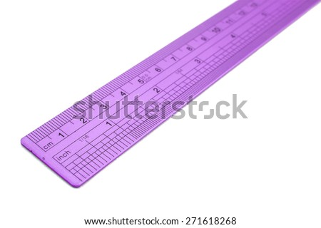 Metal ruler isolated on white - stock photo