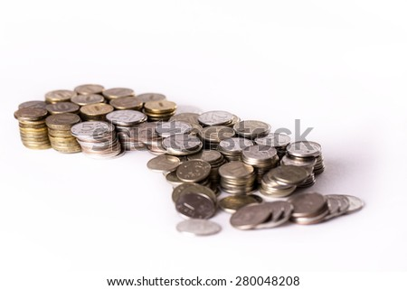 Metal Russian money on white background