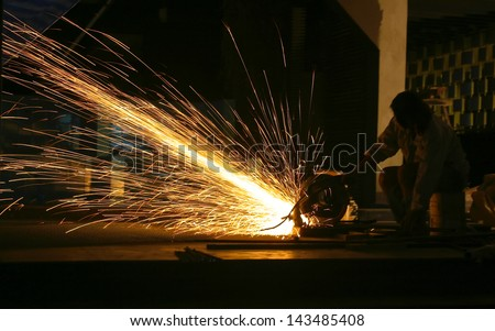 Metal Sawing - stock photo
