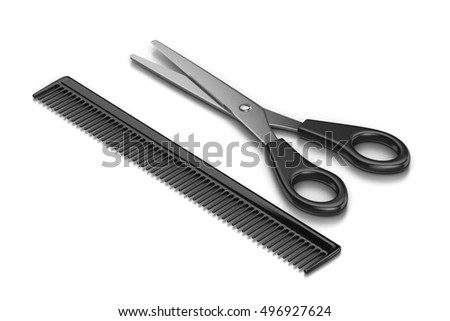 Metal Scissors and Black Plastic Comb on White Background 3D Illustration