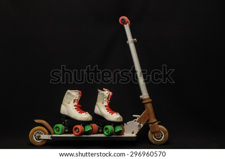 Metal scooter for child on white background - stock photo