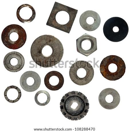 Metal screw heads on white - stock photo
