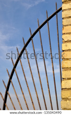 Metal Security Barrier, by the River Thames, London - stock photo