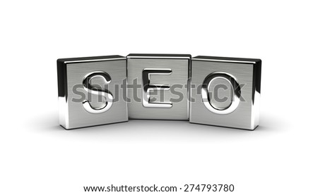 Metal Seo Text (isolated on white background) - stock photo