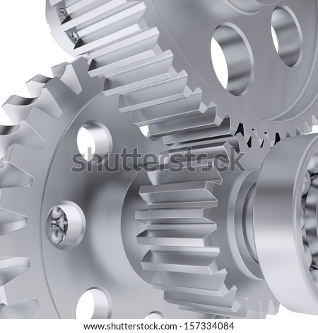 Metal shafts, gears and bearings. 3d render on white background - stock photo