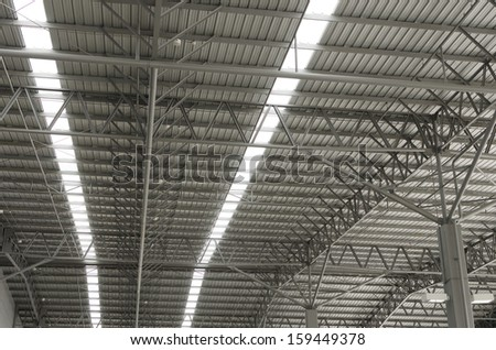 metal sheet roof of large storehouse
