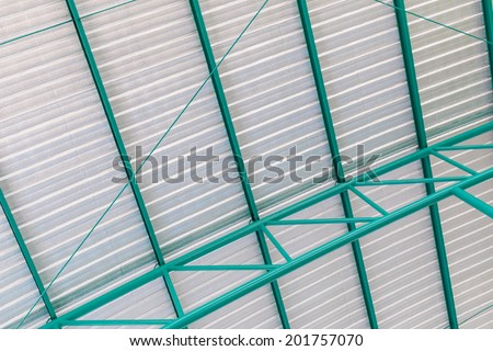 Metal sheet roof  of modern storehouse - stock photo