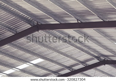 Metal sheet roof of modern storehouse