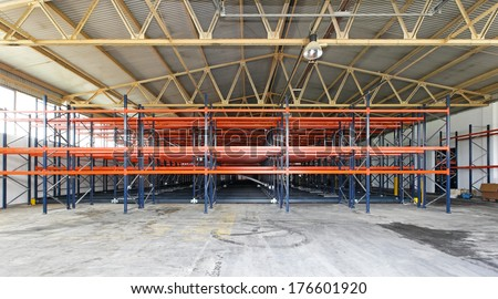 Metal shelves in new distribution warehouse