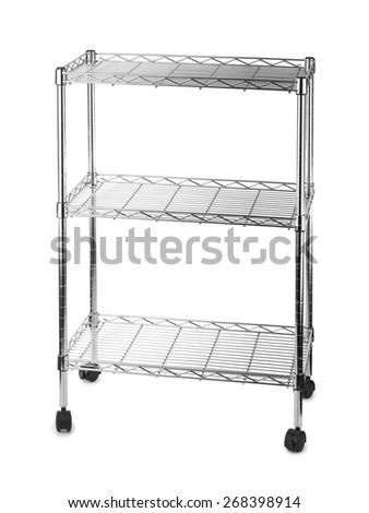 Metal shelves rack isolated on white background - stock photo