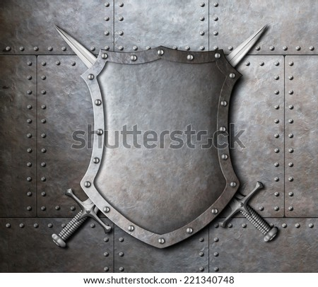 metal shield and two crossed swords over armor plates background - stock photo