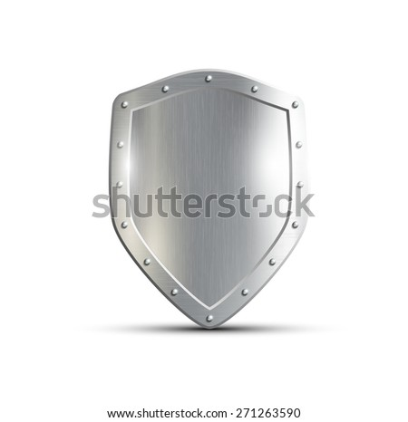 metal shield isolated on white background - stock photo