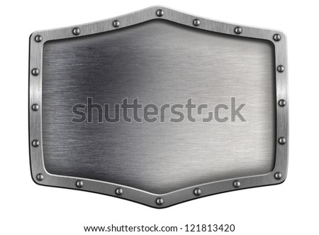 metal shield or plate isolated on white - stock photo