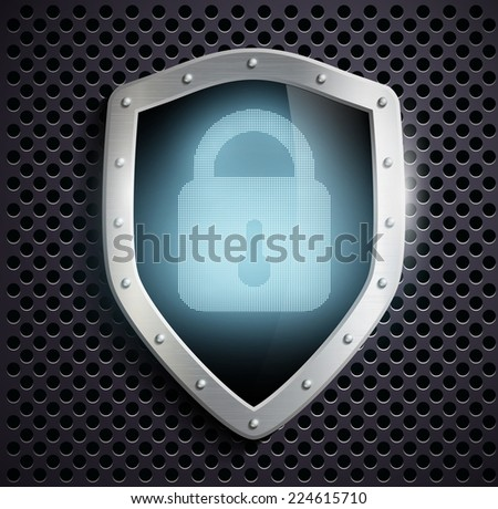 metal shield with blue lock - stock photo