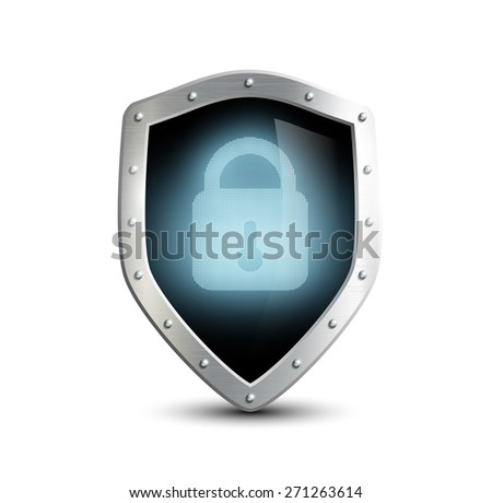 metal shield with blue lock. isolated on white background - stock photo