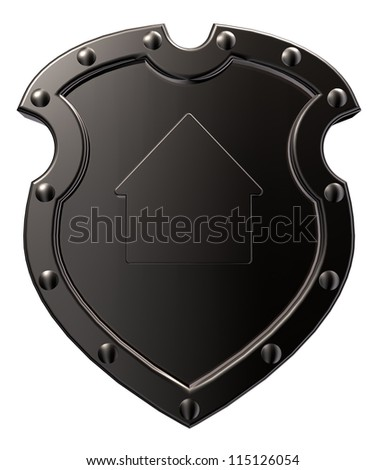 metal shield with house symbol on white background - 3d illustration - stock photo