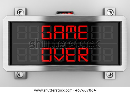 "metal shield with the inscription ""game over"" 3D"