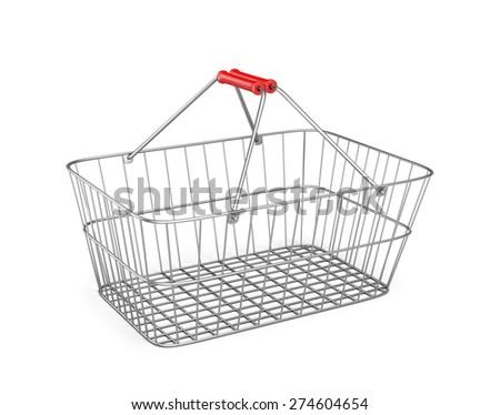 Metal shopping cart. 3d image. White background. - stock photo