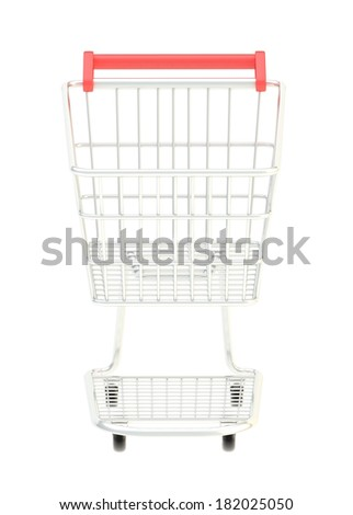 Metal shopping cart isolated over the white background, front view - stock photo